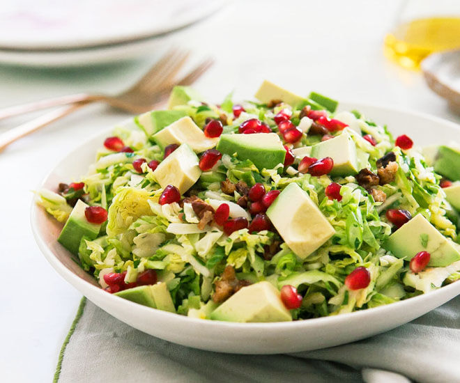 Brussel sprout salad with avocado
