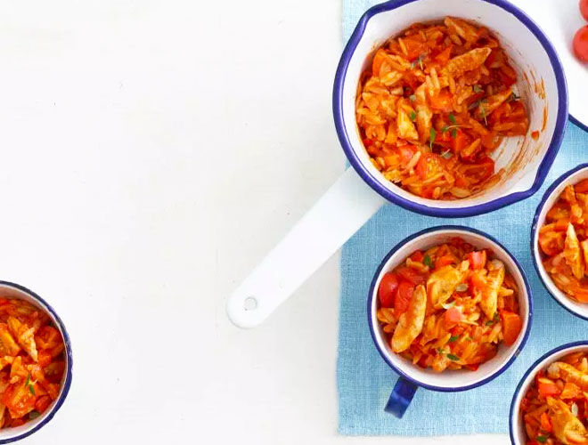 Chicken and tomato pasta for baby led weaning