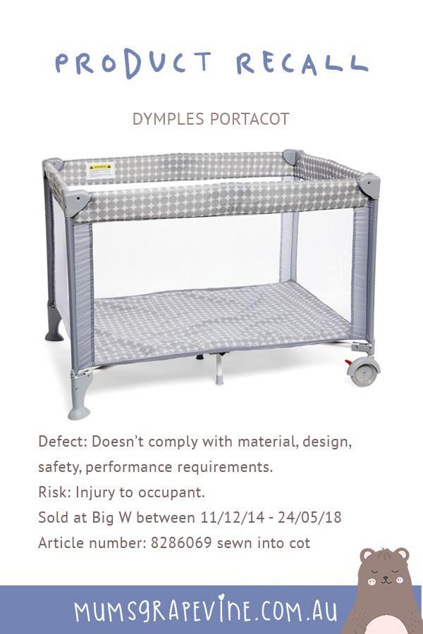 BigW Dymples Port-a-cot recall