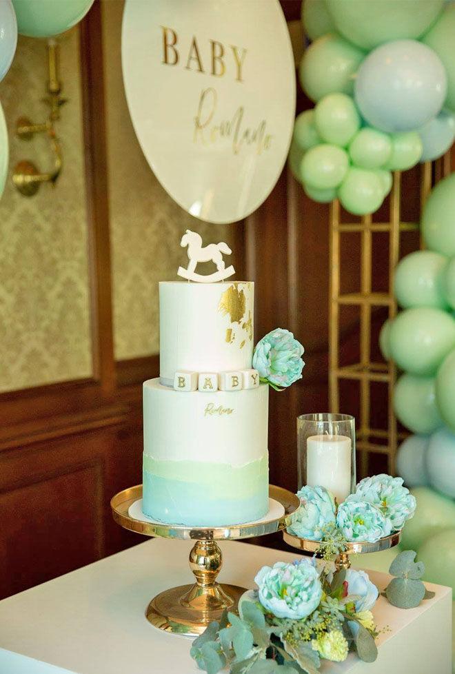 pastel mint and blue baby shower cake. MKR's Zana Pali and Gianni Romano's
