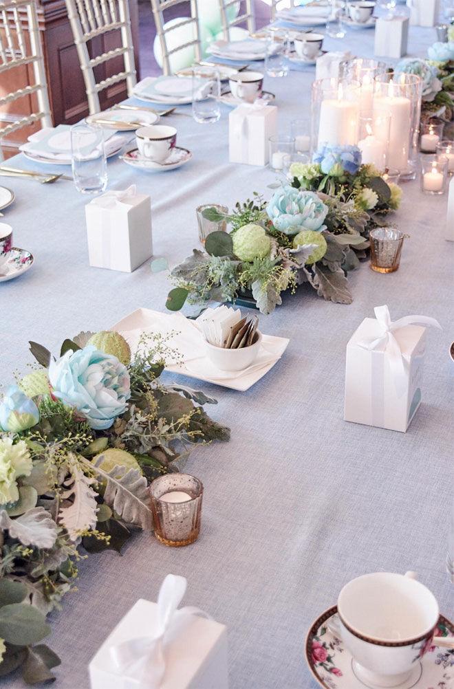 Langham Melbourne baby shower blue table setting