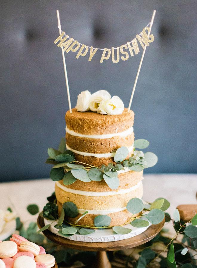 Boho style baby shower cake