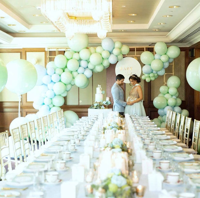 Pastel mint inspired baby shower balloon decoration