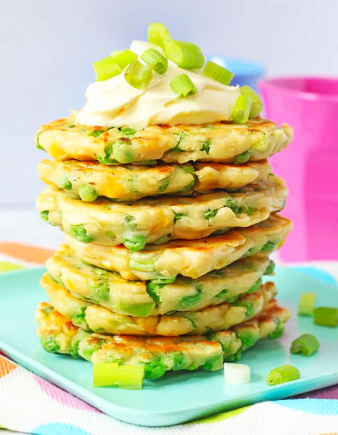 Pea and sweetcorn fritters are ideal for baby finger food