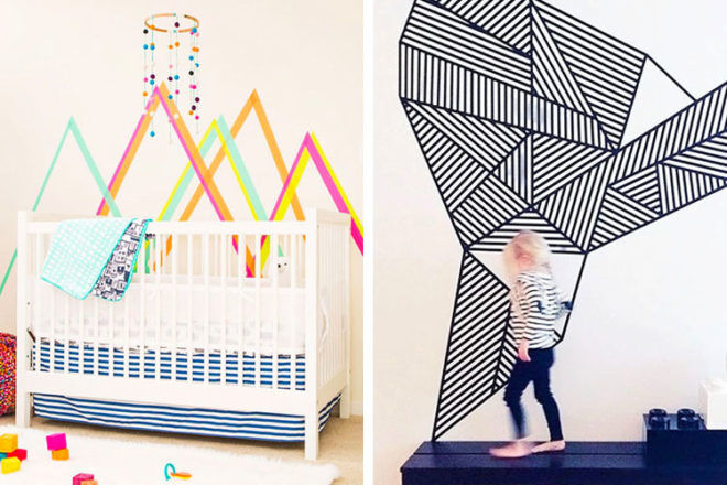15 washi tape wall ideas