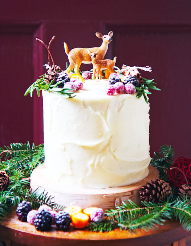 Woodland baby shower cake with pine needles and fruits, La Peche Fraiche