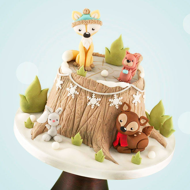 Cute woodland baby shower cake, Little Cherry Cake Company