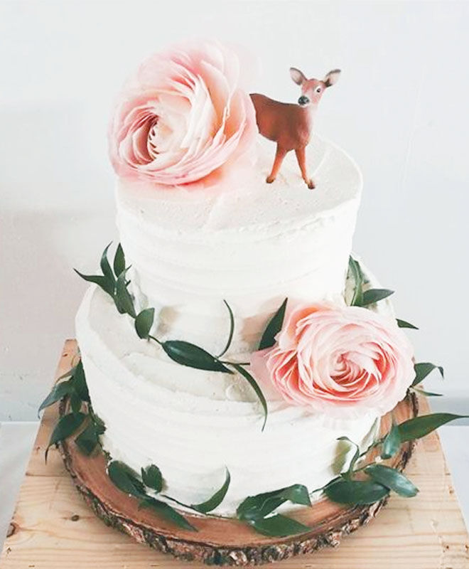 Elegant woodland baby shower cake with pink roses via Pinterest