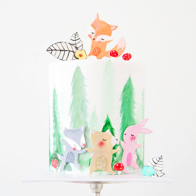 Playful woodland baby shower cake by Sweet Bakes