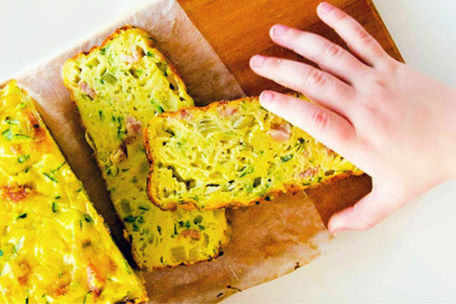 Zucchini slice. A yummy finger food for babies eating solids