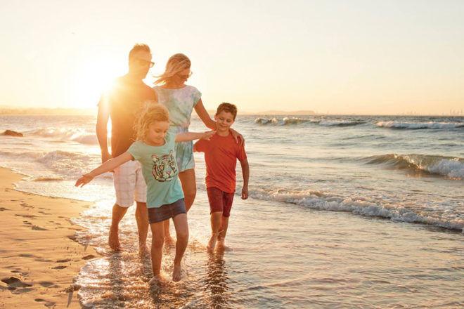Family at Sunset on Gold Coast Beach