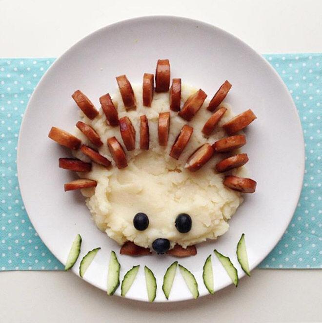 Mashed Potato and sausage hedgehog