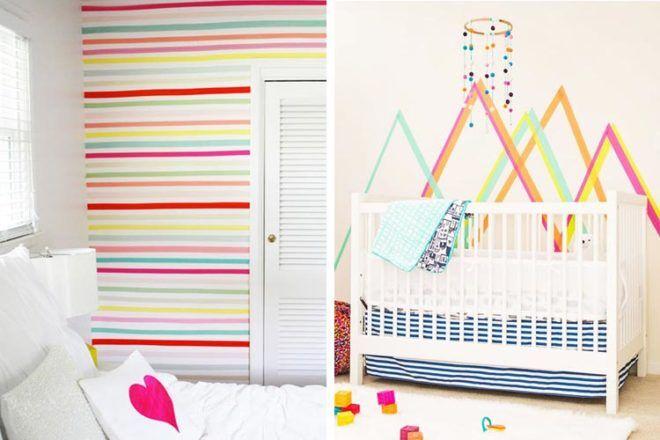 Decorating nursery walls with washi tape