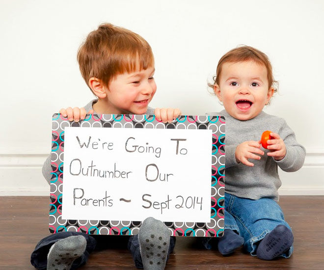 We're going to outnumber our parents, pregnancy announcement idea