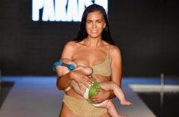 Mara Martin breastfeeding on the runway
