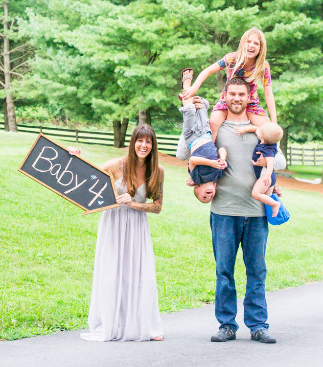 Family pregnancy announcement for baby number four