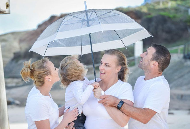Umbrella and paint gender reveal