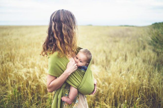 Breastfeeding in a baby carrier