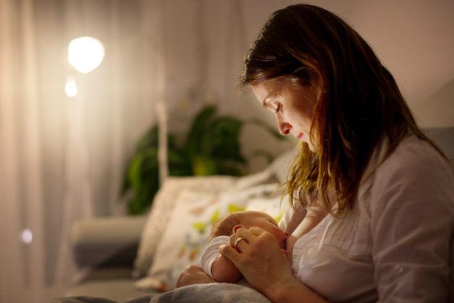 Mum breastfeeding at night