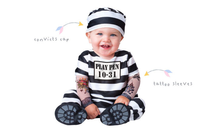 Convict baby costume for Halloween