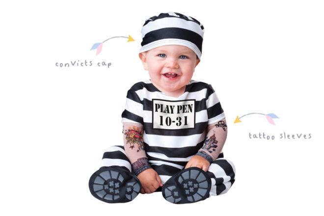 Convict baby costume for Halloween
