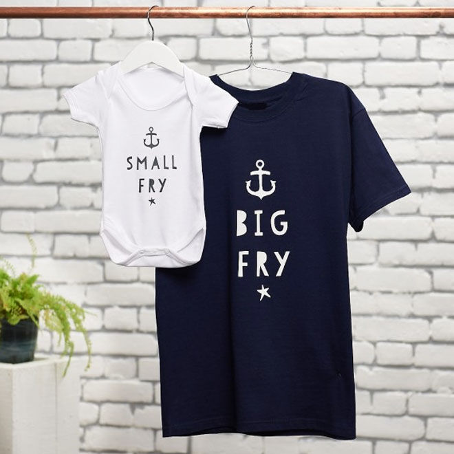 Big fry, small fry matching outfits for Father's Day
