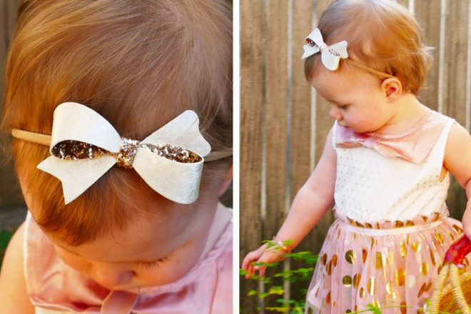 Gold Sophia baby bow, Bows by Kathy