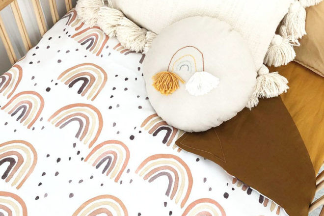 Rust rainbow cot sheets Bubbles Lane