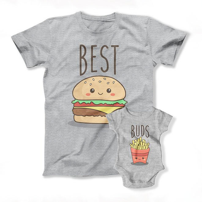 Best buds, burger and fries daddy and baby matching set
