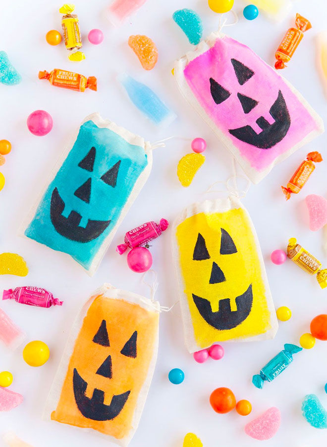 Colourful DIY treat bags for Halloween