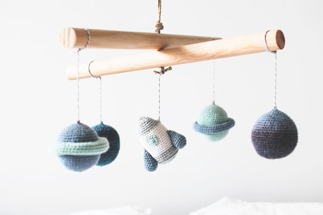 Crochet space mobile for the nursery by Hey Billie Hey