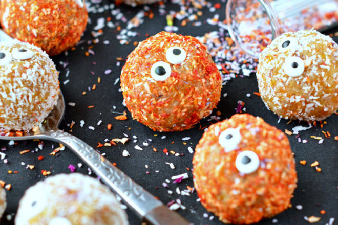 Halloween apricot and coconut bliss balls