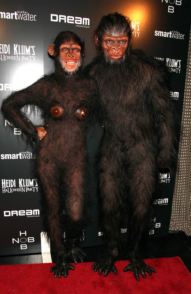 Heidi Klum and Seal as apes