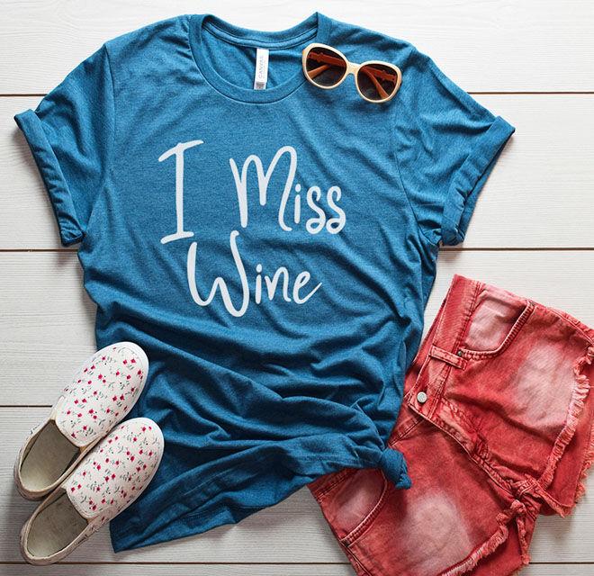 I miss wine maternity t-shirt