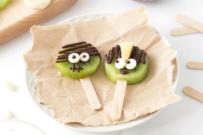 Kiwi pops for Halloween treats
