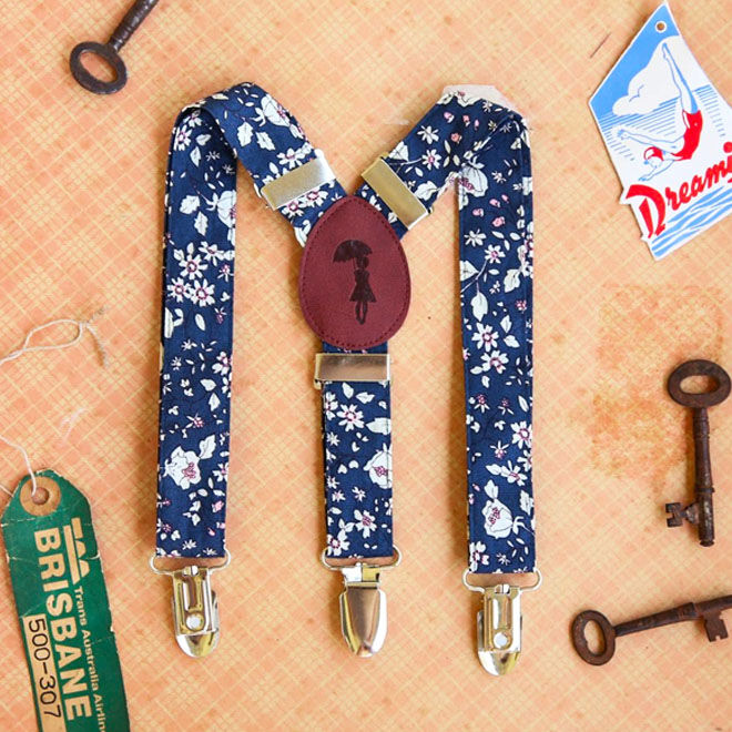 Lacy Jane floral baby suspenders