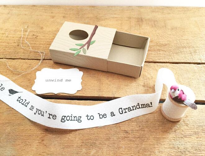 Little birdie pregnancy announcement for grandparents