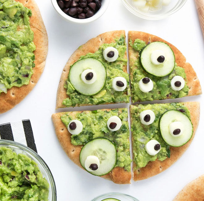 No-bake monster pizza - perfect for Halloween
