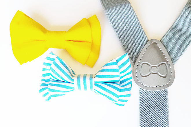 Baby bow tie and suspender set, Oh Boy