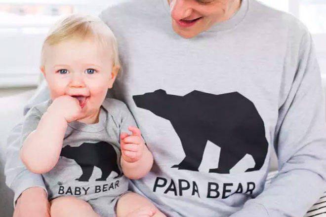 Papa bear and baby bear dad and baby matching sweater