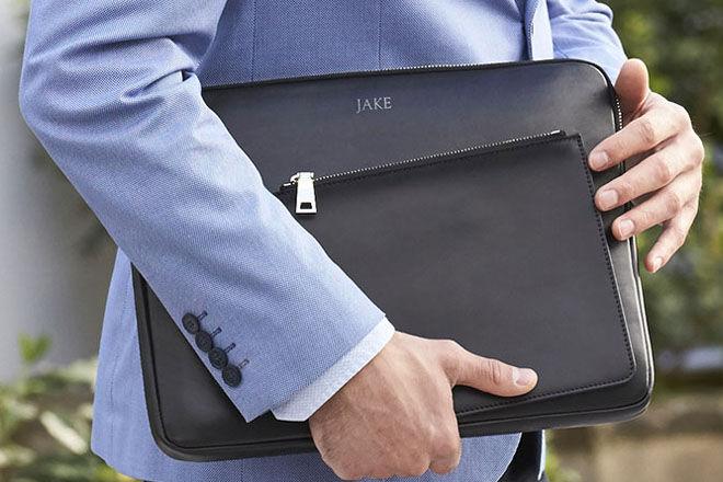 Personalised monogram laptop bag for dad, Mon Purse