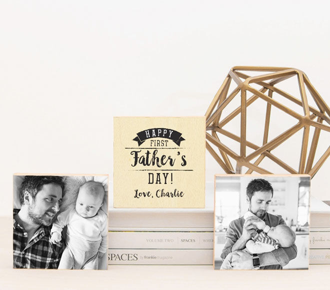 First Father's Day photo blocks, Love JK