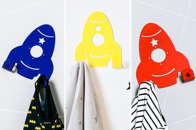 Coloured rocket wall hooks