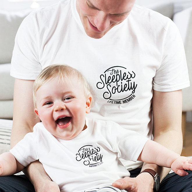 Sleepless society dad and baby matching shirt