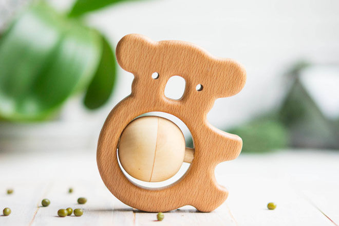 Wooden Koala Rattle and Teething Toy