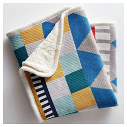 West Elm and Pottery Barn Kids knitted blanket, blue