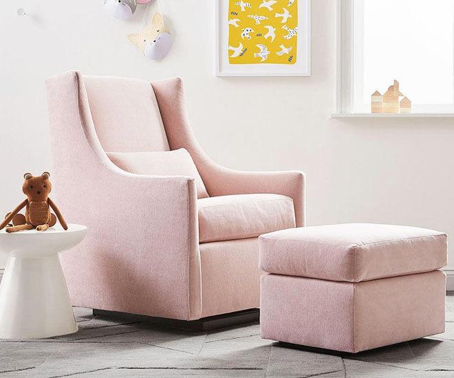 West Elm and Pottery Barn Kids velvet glider nursing chair in Blush pink