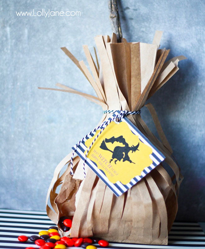 Witches broom stick trick-or-treat pouch