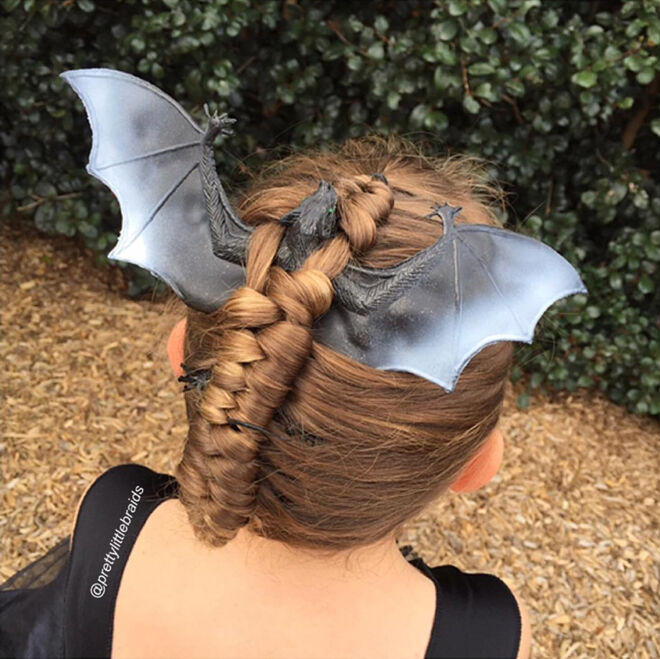 halloween hair bat braid