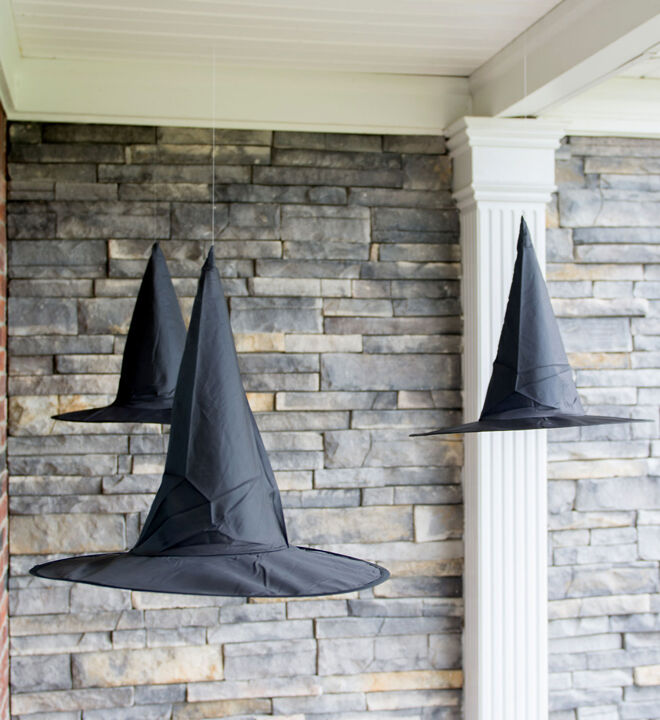 halloween decorating hanging witch hat